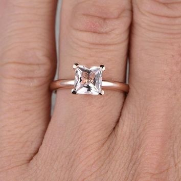 14k Rose Gold Princess Cut Morganite Engagement Ring