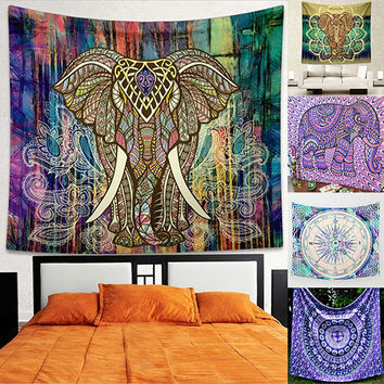 Home Wall Decor Bohemian Style Elephant Colorful Mural Tapestry Rug Beach Towel