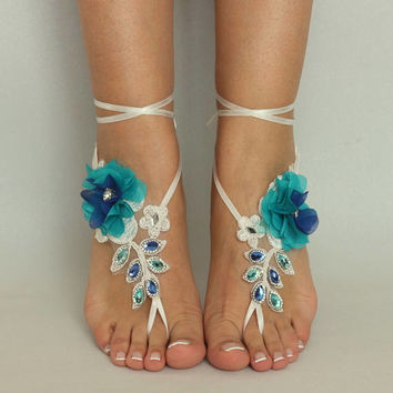 Ivory peacock Lace Barefoot Sandals peacock rhinestone Wedding Shoes beach wedding barefoot sandals Nude shoe Beach Sandals footless sandles