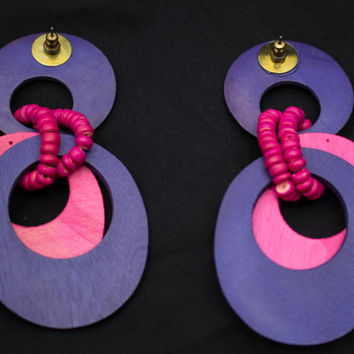 Super Neon Big Vintage Late 80's Statement Hot Pink Hot Purple Wooden Hoop Earrings.