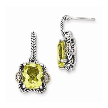 Sterling Silver w/14k Gold Antiqued Lemon Qtz & Diamond Post Earrings