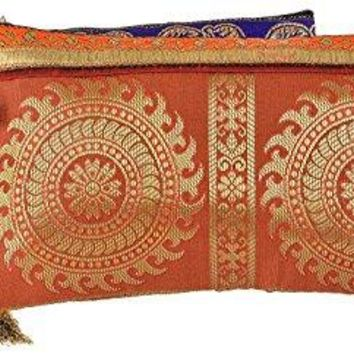 Handmade Antique Silk Clutch Wristlet Indian Made Purse Organza Bag with Ethnic design Wedding Gift Pouch Set of two