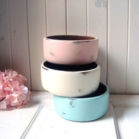 Shabby Chic Pastel Teak Wood Decorative Bowls, Set of 3 Wooden Catch All Bowls, Trinket Dish, Serving, Party Bowls, Coral Mint and Cream