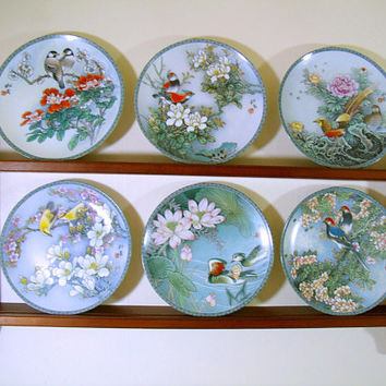 Blessings from a Chinese Garden Collector Plates Complete Set & Wood Display Shelf Bradford Exchange Asian Art Porcelain Plates Series of 6