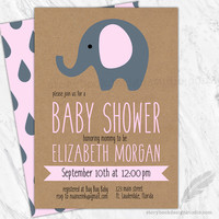 Elephant Baby Shower Invitations Pink