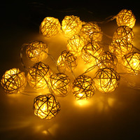 Rattan Balls String Lights