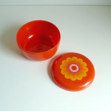 Mid Century Modern Flower Storage Box  Poppy Red by mungoandmidge
