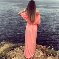 Pink Off the Shoulder Loose Maxi Dress