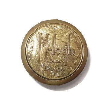Art Deco Compact - Small Rouge Metal Container, Mirrored lid, Mello-Glo, Boston, Massachusetts, Vanity Accessory, Pill box