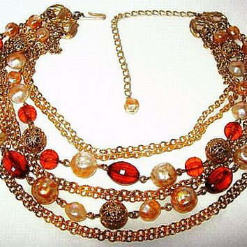 "Vintage Amber Necklace 8 Strands Gold Filigree Balls & Gold White Glass Baroque Beads 16"" VG"