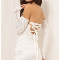 Party dresses > Gabriella Lace-Up Dress In White