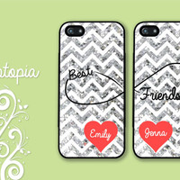 x2 iPhone 5/5S, iPhone 5c, iPhone 4 4s, Samsung Galaxy S3 S4 case chevron glitter Best friends Forever Protective Cases( Not real glitter)