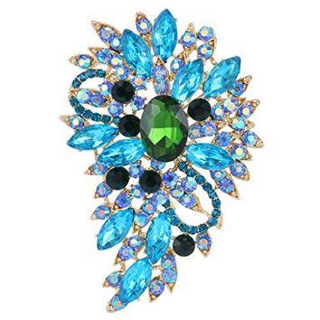 EVER FAITH Womens Austrian Crystal Wedding Flower Leaf Bouquet Brooch