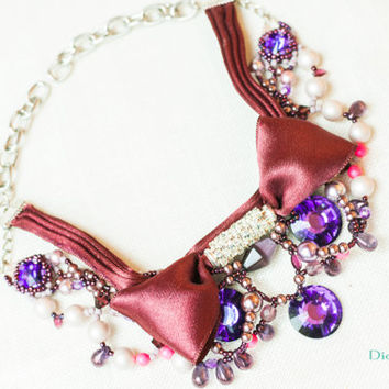Necklace purple big crystals and bow / swarovski heliotrope necklace / pearls necklace purple / dior style necklace bow and crystal