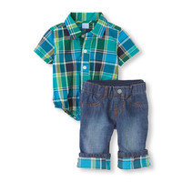 plaid bodysuit & jeans set | US Store