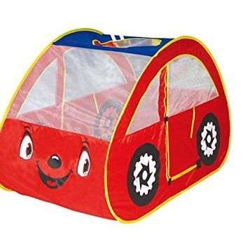 DIY Creations Red Play Tent Car Eyes Boy Girl Cubby Pop Up House Indoor Outdoor Party