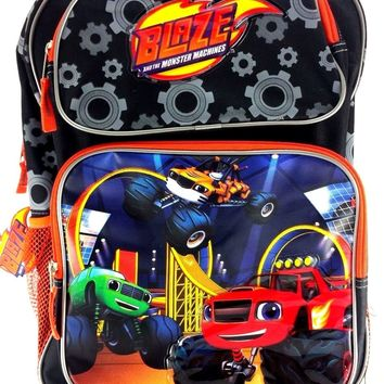 """Blaze and the Monster Machines 16"""" Canvas Black & Orange School Rolling Backpack"""