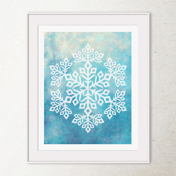 Snowflake Art Print, Snowflake Print, Snow art Printable wall art, Christmas wall decor, Winter art print, Blue Christmas PRINTABLE Art 8x10