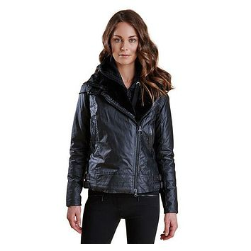 Land Rover Ratio Aysmmetric Wax Jacket in Black by Barbour