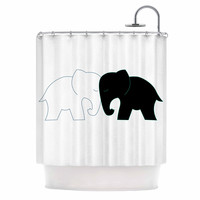"NL Designs ""Black And White Elephant Love"" Black White Shower Curtain"