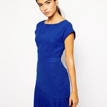 VLabel London Mall Skater Dress with Pleat Skirt Detail - Cobalt blue