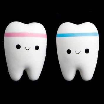 Cute Tooth Jumbo Squishy Slow Rising Squeeze Stress Hand Soft Toy Phone Pendant W15