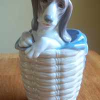 Retired Lladro porcelain figurine Dog in the basket - FREE SHIPPING & INSURANCE