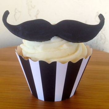Mustaches make everything a bit more fun! Set of 12 Black Mustaches (one dozen) Fondant Cupcake, Cake, Cookie Toppers.