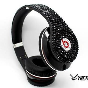 Beats by Dre Studio Jet Black Genuine Swarovski Crystal Diamond Headphones- Custom Swarovski Beats headphones