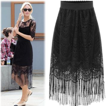 Plus Size Women's Fashion Lace Tassels Skirt [22459154458]