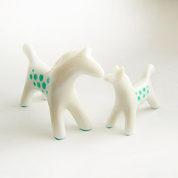 Horse figurine set of 2, white horse, Mom and Baby, horse totem, horse figure, mint and white, hand painting, home decor, motherly love, zoo