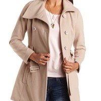 Double-Breasted Belted Pea Coat by Charlotte Russe - Beige