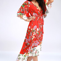 Paradise Island Red Floral Print Wrap Dress