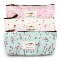 Countryside Rural Style Floral Makeup Bag Pencil Case