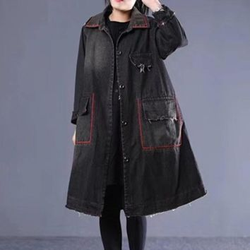 Women Denim Jacket Outwear Coat for Ladies Tie Dye Thick Long Loose Oversized Warm Fashion Casual Vintage Autumn Winter 804075