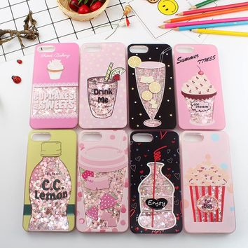 Cute Liquid Quicksand case for iphone X  Drink Bottle cover for iphone 6 6s plus Ice Cream bling capa for iphone 7 8 plus coque