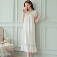 Hot Womens Long Sleeping Dress White Nightgown Short Sleeve Summer Nightdress Elegant Vintage Nightgowns Home Dress For Sleeping