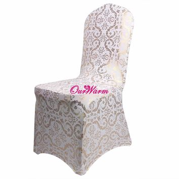 Bronzing Chair Cover Elastic Spandex Coverings Gold Printing Flower Chair Covers for Weddings Banquet Home Textile 1 piece