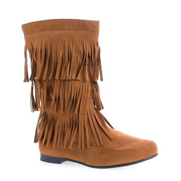 Starcy88A Whisky F-Suede by Casual, Whisky Suede Mid Calf Fringe Round Toe Moccasin Flat Boots