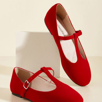Toe-Tap In Velvet Flat in Rouge