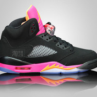 Air Jordan 5 Retro GS Black/Orange-Pink