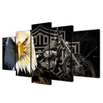 Panel Wall Art Print On Canvas Harley Davidson Bar And Shield Sportster  Motorcycle Eagle
