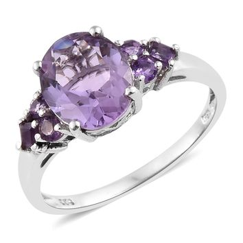 Rose De France Amethyst Platinum Over Sterling Silver Ring