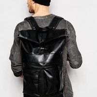 Dark Future Backpack With Straps In Faux Leather
