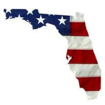 State of Florida Realistic American Flag Window Decal - Various Sizes