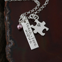 Teach Love Inspire Autism Sterling Silver by GracieAndMeDesign
