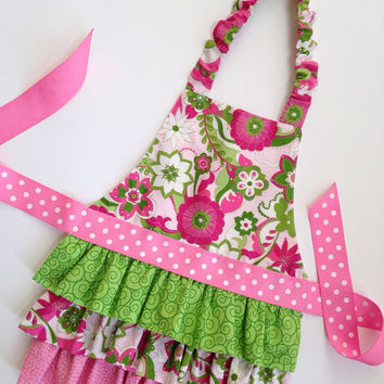 Girl's Aprons, Girl Ruffle Apron, Frilly Apron for Girls