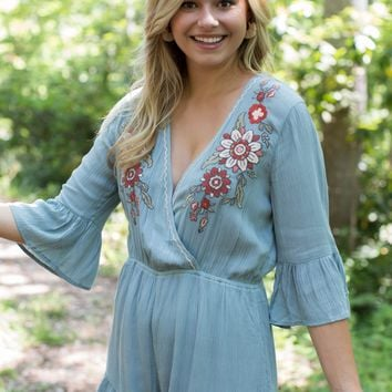 Bozeman Embroidered Romper, Dusty Blue