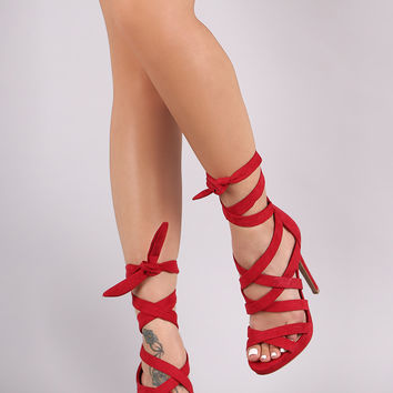 Wild Diva Lounge Open Toe Stiletto Wrap Heel