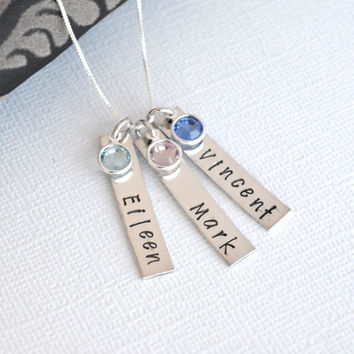 Personalized Mother Grandmother Hand-Stamped Initial Necklace- Three bar Children's Names with Birthstones